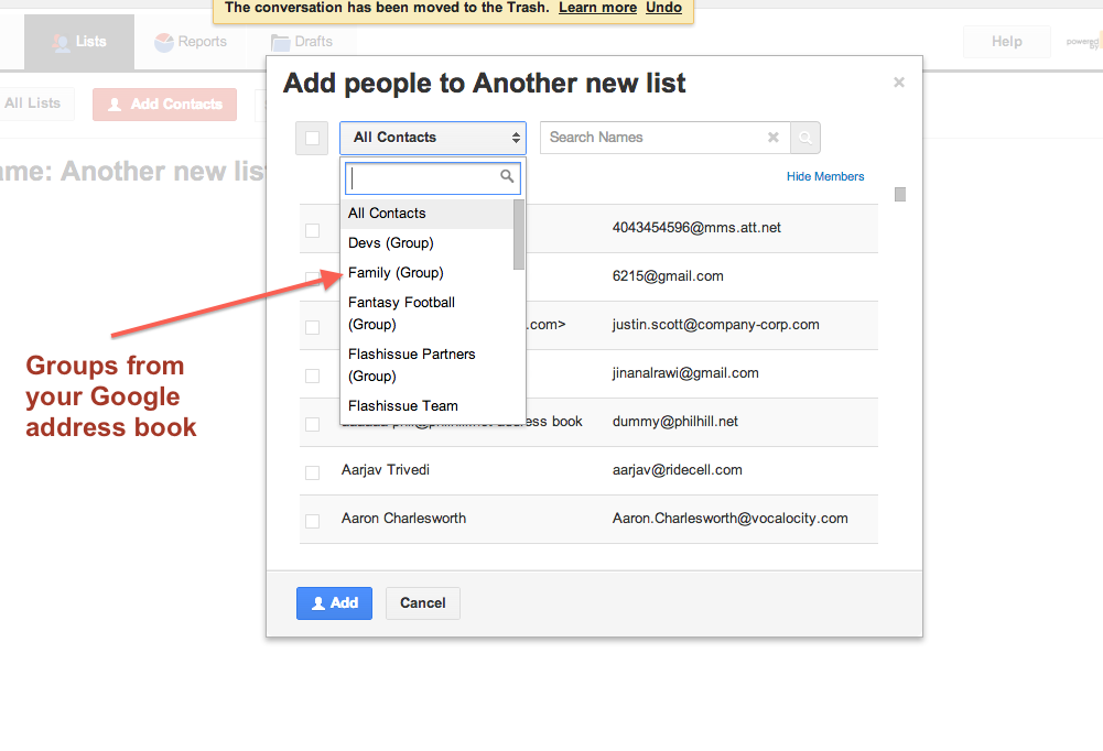 NOTE: WHEN YOU CREATE A CONTACT GROUP IN GOOGLE, IF THERE ARE MULTIPLE EMAIL  ADDRESSES FOR A SINGLE CONTACT GOOGLE WILL ONLY TAKE THE FIRST EMAIL OF  THAT ...